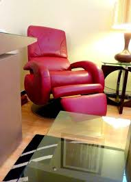 mid century modern red leather recliner by lane for
