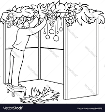 Small Picture Jewish Guy Builds Sukkah For Sukkot Coloring Page Vector Image