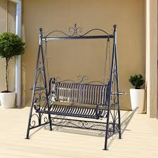 outsunny outdoor metal garden bench swing 2 seat patio furniture black 1 of 8only 0 available