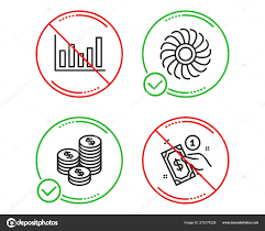 Coins Fan Engine And Column Chart Icons Set Payment Method