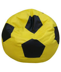 sultaan rexine leather yellow black football bean bag cover without filler