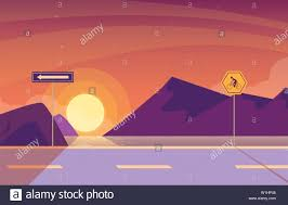 Sunrise Landscape And Design Sunrise Landscape Nature With Signage For Cyclist Vector