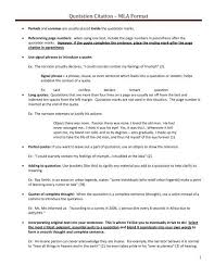 Quotation In Mla Quotation Citation Mla Format 2012 Pdf