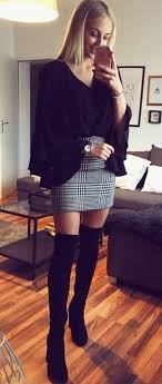 Fantastic long sleeve outfit winter ideas Distressed Jeans winter outfits Black Vneck Longsleeved Shirt With Gray Skirt And Black Suede Thighhigh Boots Glamour 100 Awesome Winter Outfits That Always Looks Fantastic Outfit