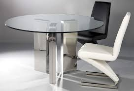 gorgeous round transpa glass dining table with three chrome polished metal legs plus elegant black and