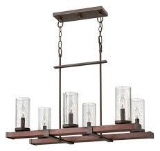 jasper 6 light linear chandelier rustic iron clear seedy glass