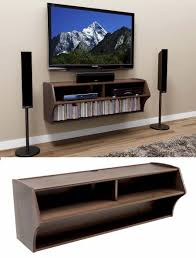 ... Hanging Wall Tv Cabinet Tonyswadena Brown Colored Glossy Look Wooden  Material Books Rack Bottom Wooly Tapestry ...