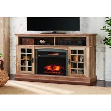 home decorators collection brookdale 60 in tv stand infrared electric fireplace in natural beige driftwood