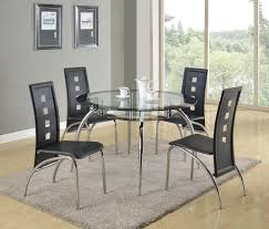 5 Piece Round Glass Table And Modern Side Chair Set Mila By Crown