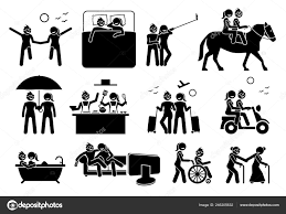 Lesbian Couple Lifestyle Activities Illustrations Depict Gay