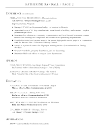 Resume Film Resume Sample