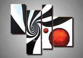 black white abstract art directly from china suppliers 100 hand painted 4 panels wall art canvas abstract painting red white black color home