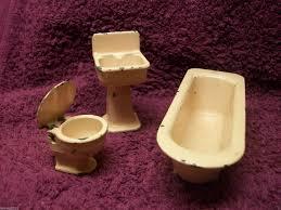 Bathroom Suites Ebay Vintage Dolls House Bathroom Suite Metal Pink Toilet Sink Bath