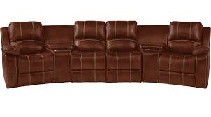 1 755 00 fenway heights brown 5 pc leather reclining sectional contemporary