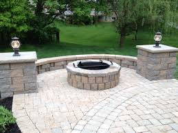 Small Picture paver patio with pit seating wall and grill trex steps