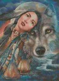 Details About Native American Girl With Wolf Counted Cross Stitch Chart No 3 276