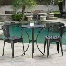 iron patio furniture. Colmar Black With Silver 3-Piece Metal Round Outdoor Bistro Set Iron Patio Furniture
