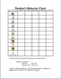 Student Behavior Chart Individual Student Behavior Chart