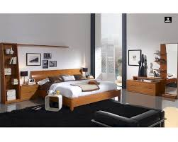 Modern Bedroom Bed Bedroom Set In Light Cherry Finish Made In Spain 33b201