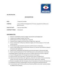 Job Profile Of Document Controller Sec Hr Doc 001 Job Description Role Financial