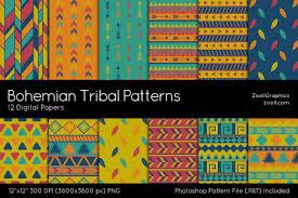 Bohemian Pattern Custom Bohemian Tribal Patterns Digital Papers Design Bundles