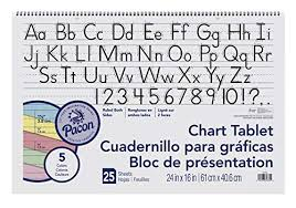 Inx Chart Pacon Chart Tablet 24 X 16 Inches 1 1 2 Inch Ruled Long Way 25 Sheets 384810