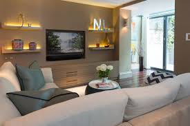 Recessed tv, floating shelves and built-in's matching the wall treatment...  Wall Shelving Living RoomLiving ...