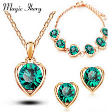2016 new arrival 18k gold silver plated crystal heart shape fashion costume jewelry sets for women necklace earrings sets 1331 realbig com