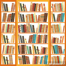large bookcase with diffe books vinyl wall mural library