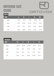 Ortovox Size Guide Nordic Outdoor