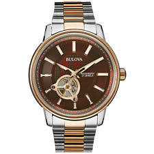 bulova rose gold watch bulova men s 98a140 automatic skeleton window rose gold and silver 45mm watch