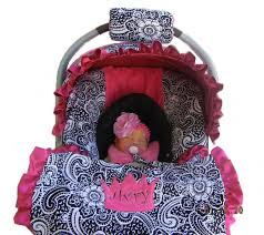 baby car seat cover paisley with hot pink minky dot seat by isewjo