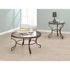 fairhaven round coffee table with bronze metal frame