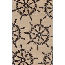 frontporch black ship wheel outdoor rug