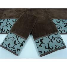 dark brown and teal bathroom towels