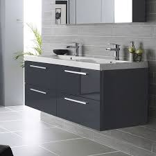 white bathroom cabinets gray walls. hudson reed quartet wall mounted double vanity unit \u0026 polymarble basin - high gloss grey white bathroom cabinets gray walls