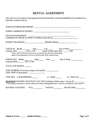 Blank Rental Lease 24 Printable Vacation Rental Lease Agreement Forms And Templates
