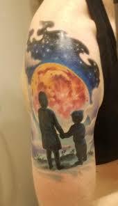 Night Sky Tattoo With A Silhouette Of My 2 Kids Beautiful Tattoo