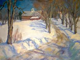 eric tobin painting winter haven with red barn vermont item 1352168