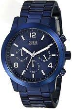 guess watches waterpro steel gold bands guess men s u0123g3 blue iconic stainless steel chronograph watch