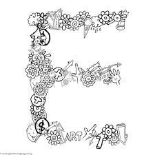 doodle alphabet letter e coloring pages