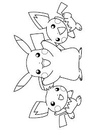 Pokemon Paradijs Kleurplaat Pikachu En Twee Pichu