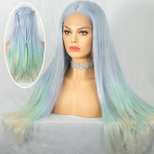 Pastel Light Blue Hair Cosswigs Ombre Blue Lace Front Wig For Women Silky Straight Pastels Mix Light Blue Synthetic Lace Wigs Heat Resistant Fiber Free Part 24inches