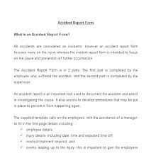 Vehicle Accident Report Template Word Car Employee