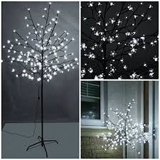 garden mile new 6ft 1 8m pre lit with 240 white led lights cherry blossom tree xmas tree suitable for indoor or outdoor use garden mile
