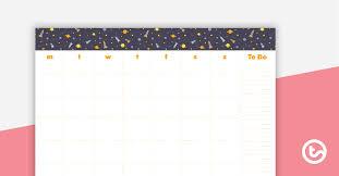 Generic Calendar Template Space Teaching Resource Teach