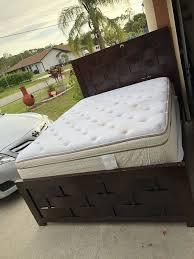 Queen size bed mattress and box springs frame pillow top mattress