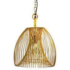 wire large hanging pendant lamp in gold