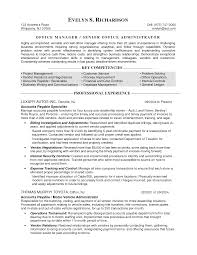 Resume Templates Back Office Manager Example Business Resumes Yun56