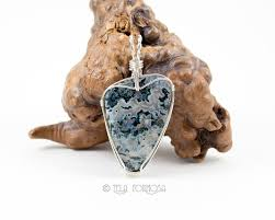 moss agate pendant green natural stone wire wrapped pendant handmade sterling silver wire telaformosa